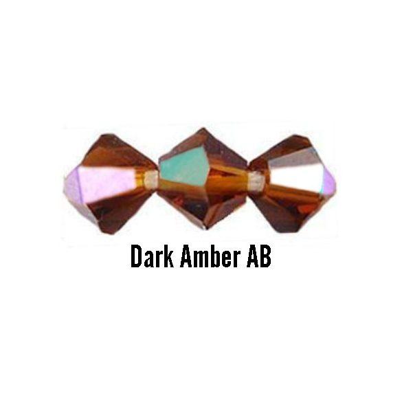 Kúpos kristálygyöngy, 4mm, dark amber AB, 100 db/csomag