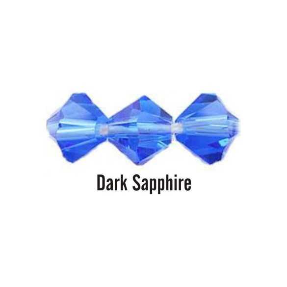 Kúpos kristálygyöngy, 3mm, dark sapphire, 100 db/csomag