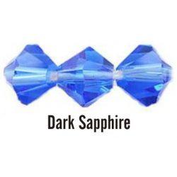 Kúpos kristálygyöngy, 4mm, dark sapphire, 100 db/csomag