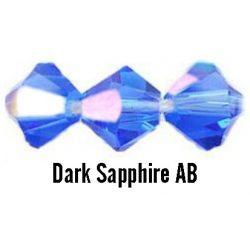 Kúpos kristálygyöngy, 3mm, dark sapphire AB, 100 db/csomag