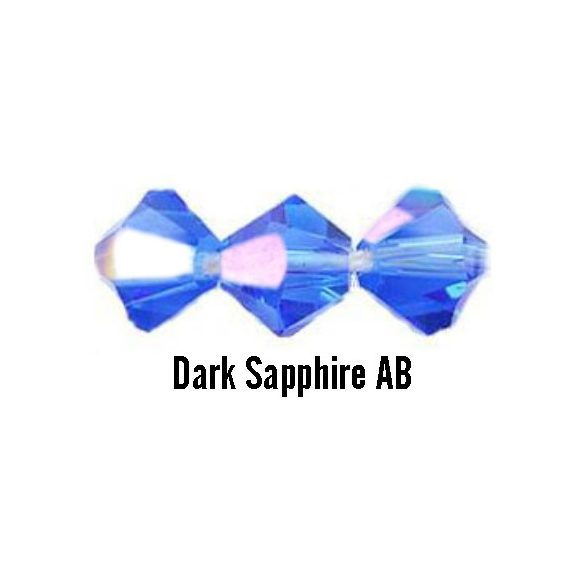 Kúpos kristálygyöngy, 4mm, dark sapphire AB, 100 db/csomag