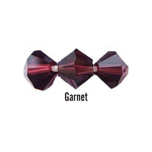 Kúpos kristálygyöngy, 4mm, garnet, 100 db/csomag