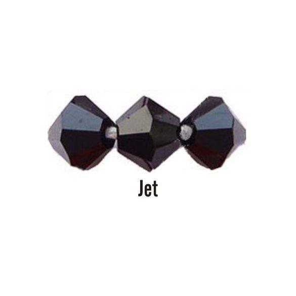 Kúpos kristálygyöngy, 3mm, jet, 100 db/csomag