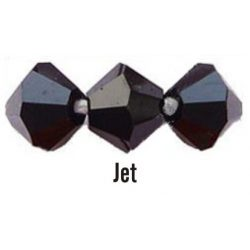 Kúpos kristálygyöngy, 4mm, jet, 100 db/csomag
