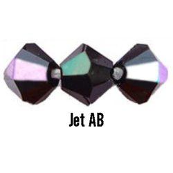 Kúpos kristálygyöngy, 4mm, jet AB, 100 db/csomag
