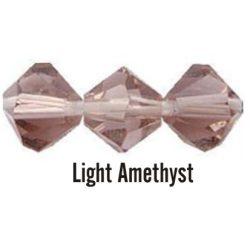 Kúpos kristálygyöngy, 4mm, light amethyst, 100 db/csomag