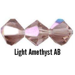 Kúpos kristálygyöngy, 4mm, light amethyst AB, 100 db/csomag