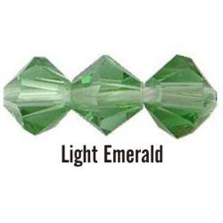 Kúpos kristálygyöngy, 3mm, light emerald, 100 db/csomag
