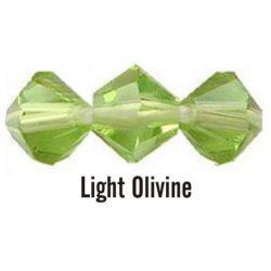 Kúpos kristálygyöngy, 4mm, light olivine, 100 db/csomag