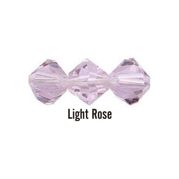 Kúpos kristálygyöngy, 4mm, light rose, 100 db/csomag