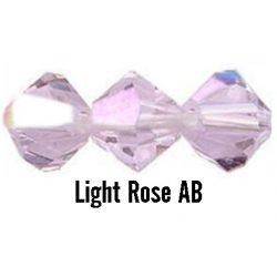 Kúpos kristálygyöngy, 3mm, light rose AB, 100 db/csomag