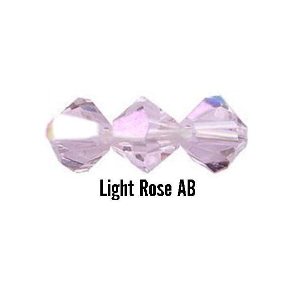 Kúpos kristálygyöngy, 4mm, light rose AB, 100 db/csomag