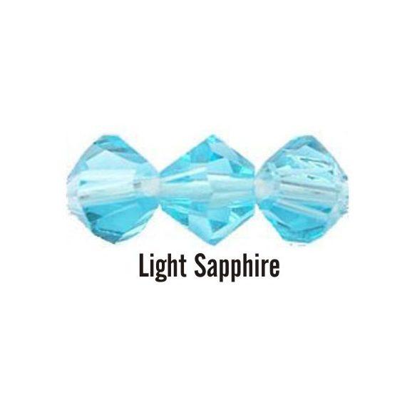 Kúpos kristálygyöngy, 4mm, light sapphire, 100 db/csomag