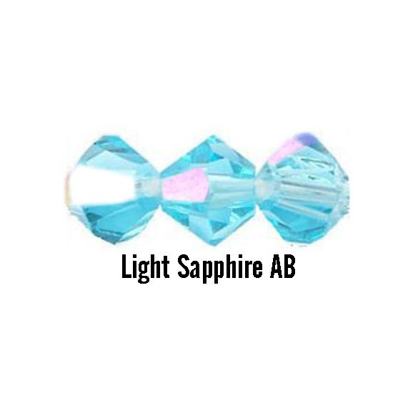 Kúpos kristálygyöngy, 4mm, light sapphire AB, 100 db/csomag