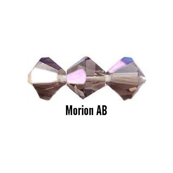 Kúpos kristálygyöngy, 4mm, morion AB, 100 db/csomag
