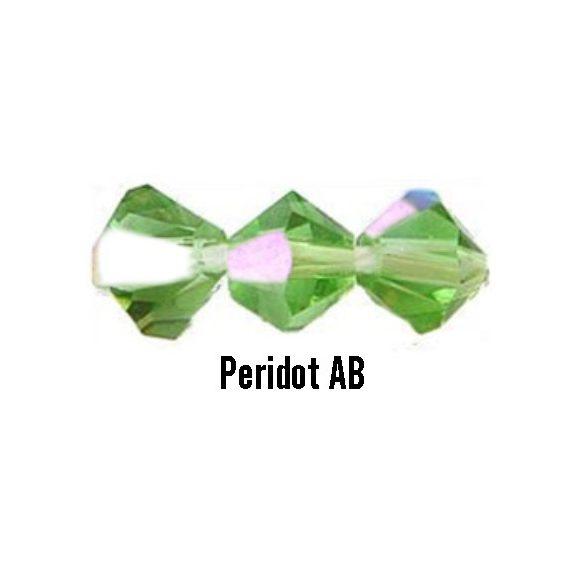 Kúpos kristálygyöngy, 4mm, peridot AB, 100 db/csomag
