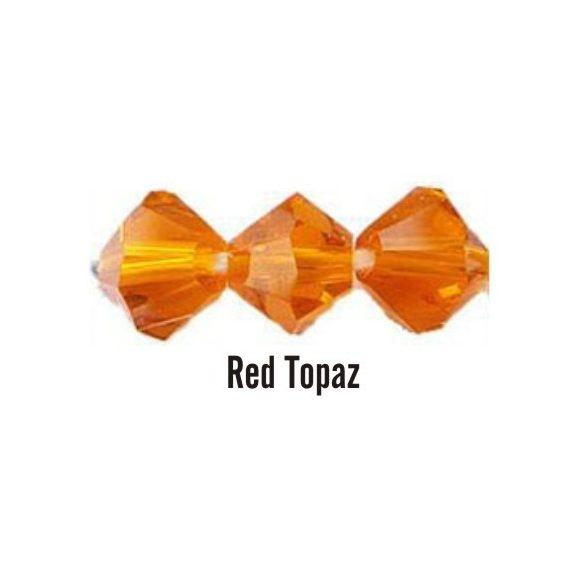 Kúpos kristálygyöngy, 4mm, red topaz, 100 db/csomag