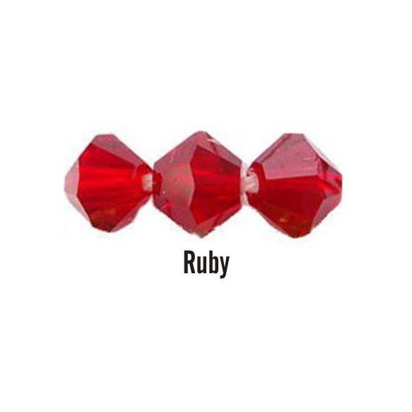 Kúpos kristálygyöngy, 4mm, ruby, 100 db/csomag