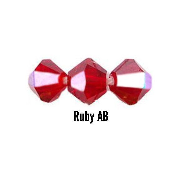 Kúpos kristálygyöngy, 4mm, ruby AB, 100 db/csomag