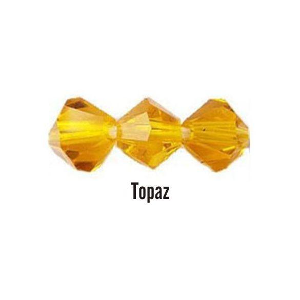 Kúpos kristálygyöngy, 4mm, topaz, 100 db/csomag