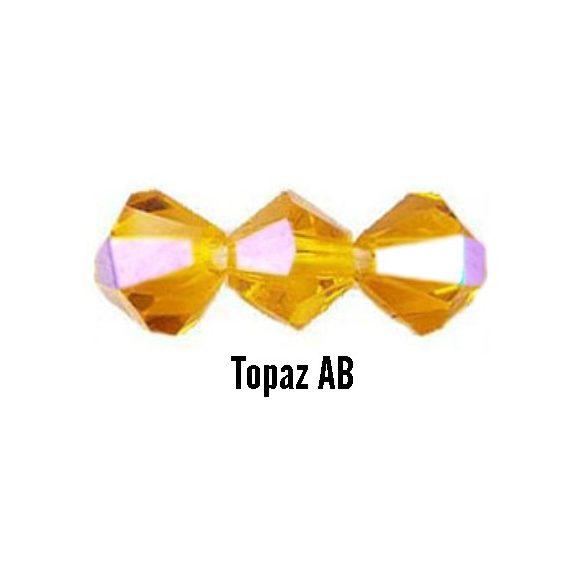 Kúpos kristálygyöngy, 4mm, topaz AB, 100 db/csomag