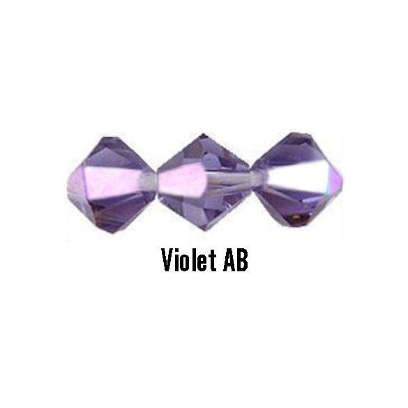 Kúpos kristálygyöngy, 4mm, violet AB, 100 db/csomag
