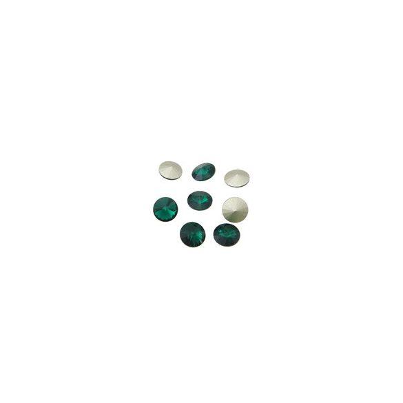 Kristály rivoli, emerald, 12mm, 8 db/csomag