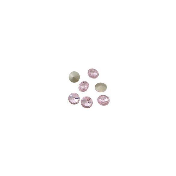 Kristály rivoli, light rose, 10mm, 10 db/csomag