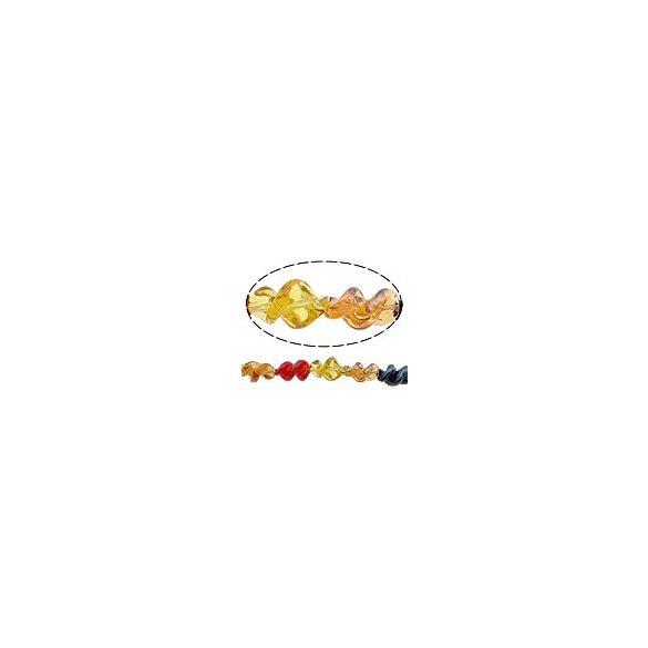 Lámpagyöngy, csavart, 19x12mm, vegyes színek, 15db/szál