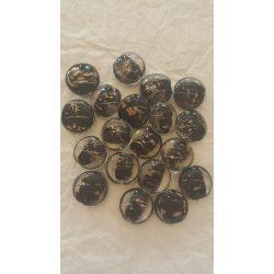 Lámpagyöngy, fekete-arany, 25 mm, 10 db/ csomag