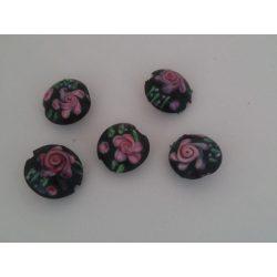Lámpagyöngy virág mitával, lencse, fekete 5db/csomag