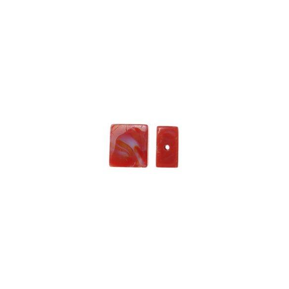 Lámpagyöngy, szögletes, 16x14x6,5mm, piros, 10db/csomag