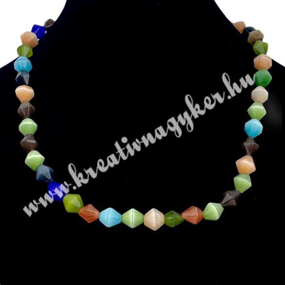 Macskaszem gyöngy, orsó, 8-9x8mm, vegyes szín, 44db/szál