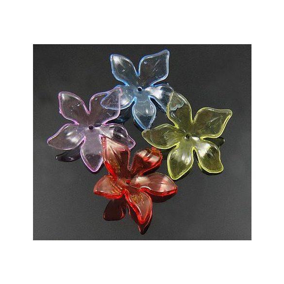 Fűzhető műanyag virág, 29x28x2,5mm, vegyes szín, átlátszó, 50 db/csomag