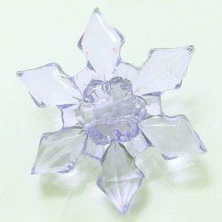 Fűzhető műanyag hópihe, 30x9mm, 50 db/csomag