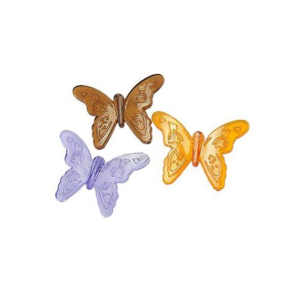 Fűzhető műanyag pillangó, 52x37x6mm, vegyes szín, 40 db/csomag