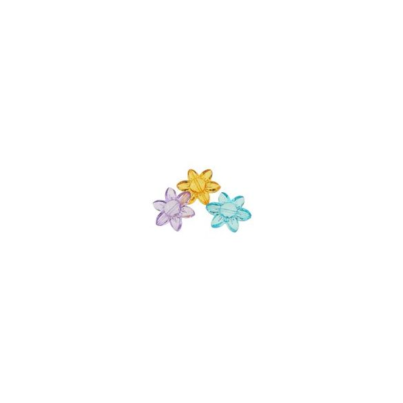 Fűzhető műanyag 6 szirmú virág, 25x28x8mm, 50 db/csomag