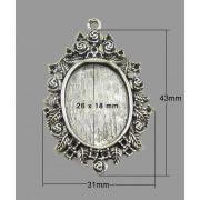 Fémmedál, antik ovál, 43x31mm, ezüst színű, 5 db/csomag
