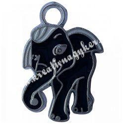 Fémmedál, elefánt, 19x17x2mm, 20 db/csomag