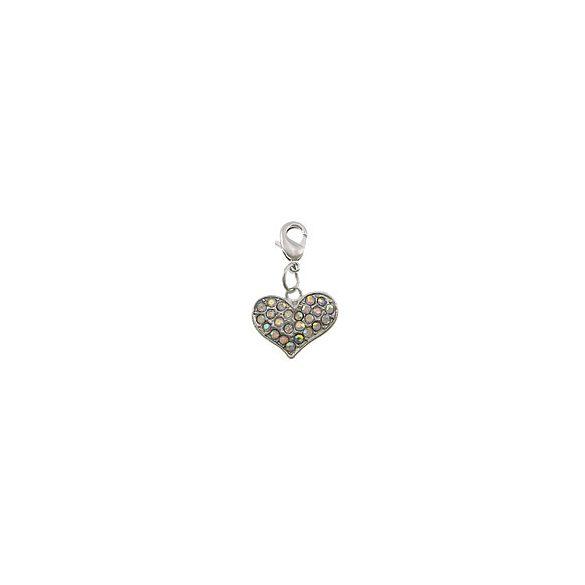 Fémmedál kapoccsal, strasszos szív, 18x15x4mm, crystal AB, 5db/csomag