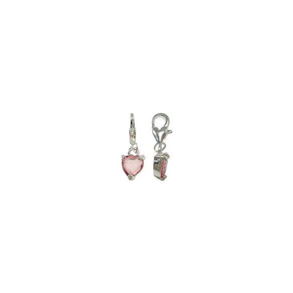 Fémmedál kapoccsal, üveg szívvel, 8x15x4mm, rose, 10db/csomag