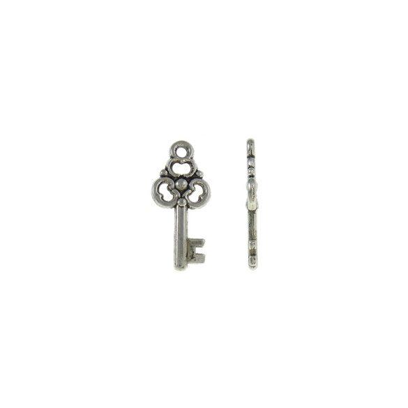 Fémmedál, kulcs, 10x22,5x2mm, 20 db/csomag