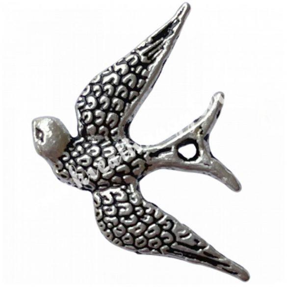 Fémmedál, madár, 17x24x1mm, 20 db/csomag