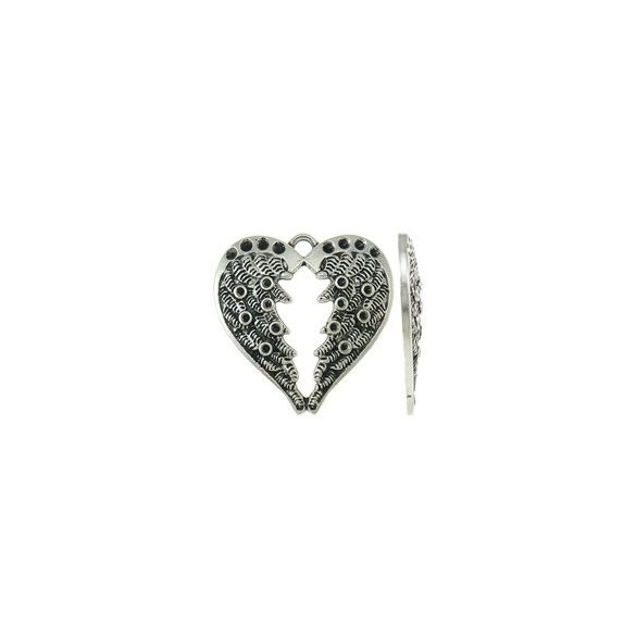 Strasszolható fémmedál, szív alakú angyalszárny, 29x29x3mm, 5 db/csomag