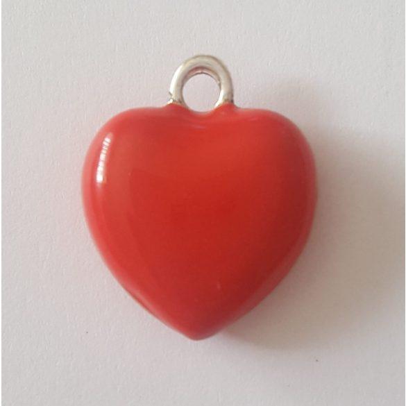Fémmedál, piros szív, 34x16x5mm, 10 db/csomag
