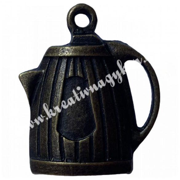 Fémmedál, teáskanna, 25x20mm, antik réz színű 10 db/csomag