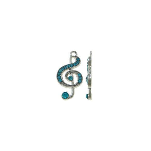Fémmedál, violinkulcs, 15x28x3mm, aquamarine, 5 db/csomag