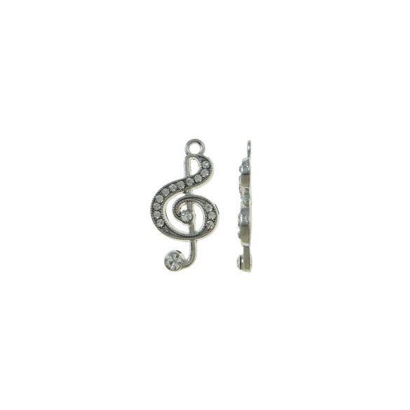Fémmedál, violinkulcs, 15x28x3mm, crystal, 5 db/csomag