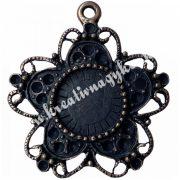 Fémmedál, antik virág, 27x30mm, bronz színű, 5 db/csomag