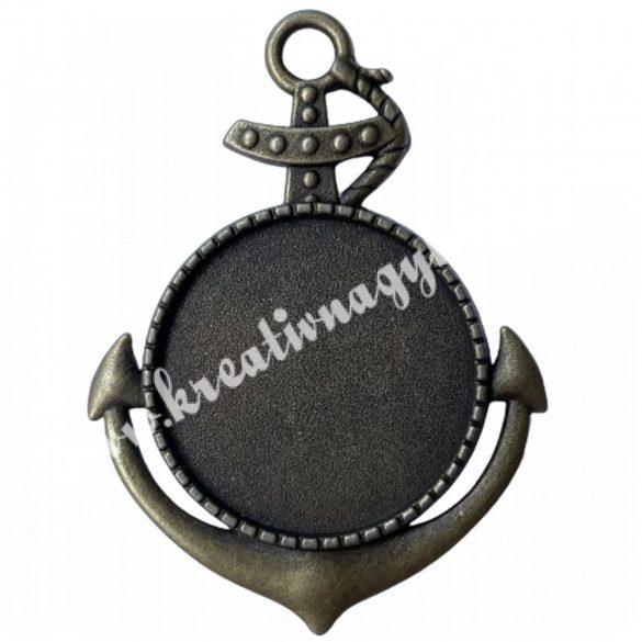 Medál, horgony, antik réz színű, 37x50 mm, 5 db/csomag